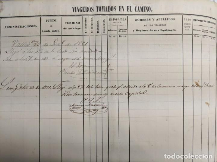 Documentos antiguos: 1851 1852 DILIGENCIAS DEL PONIENTE DE ESPAÑA - MADRID OVIEDO - 18 HOJAS REGISTRO DE VIAJES ASTURIAS - Foto 4 - 187610216