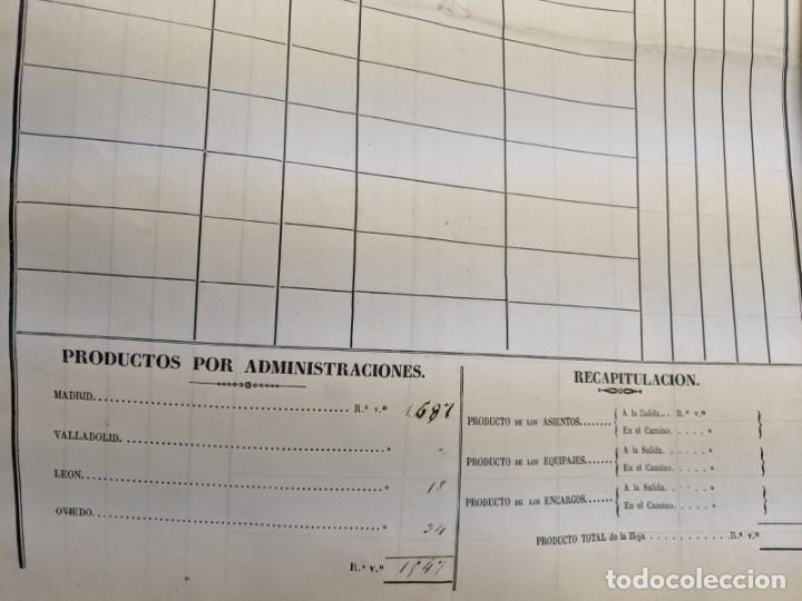 Documentos antiguos: 1851 1852 DILIGENCIAS DEL PONIENTE DE ESPAÑA - MADRID OVIEDO - 18 HOJAS REGISTRO DE VIAJES ASTURIAS - Foto 6 - 187610216