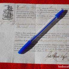 Documentos antiguos: TARRAGONA.BENICARLÓ.VINAROZ. CONOCIMIENTO DE EMBARQUE DEL AÑO 1832.. Lote 187628798