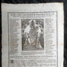 Documentos antiguos: GOIGS DEL SANTISSIM ROSARI - SANT ESTEVE DE OLZINELLES - 1743. Lote 187979838