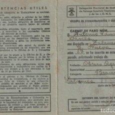 Documentos antiguos: CURIOSO CARNET DE PARADO EMITIDO POR LA FALANGE DE ZALAMEA DE LA SERENA (BADAJOZ) (1951). Lote 188097010