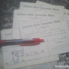 Documentos antiguos: LA CAROLINA - IGUALATORIO MÉDICO FARMACÉUTICO OBRERO, 1915 - 6 VALES RECIBO CUOTA MENSUAL - MINAS. Lote 188220745