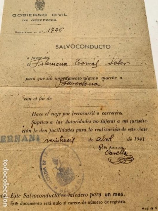 Documentos antiguos: Salvoconducto - Foto 3 - 47888506
