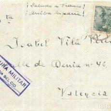 Documentos antiguos: == PA393 - CARTA TERUEL - VALENCIA - CON CENSURA MILITAR - VALENCIA DEL CID. Lote 188480310