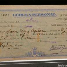 Documentos antiguos: CÉDULA PERSONAL 1927 CARTAGENA. Lote 188673673