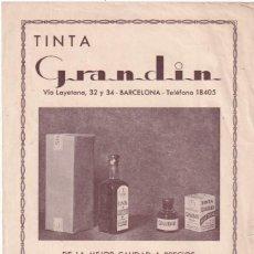 Documenti antichi: PUBLICIDAD DE TINTA GRANDIN. BARCELONA. . Lote 188678936