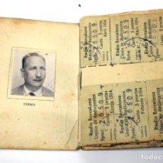 Documentos antiguos: 1953 CARNET DE SUSCRIPTOR A LA UNIÓN DE RADIOYENTES DE RADIO BARCELONA. Lote 189267273