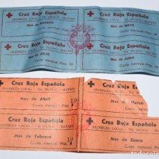 Documentos antiguos: CRUZ ROJA ESPAÑONA - ASAMBLEA LOCAL DE MATARÓ. 8 RECIBOS, DE ENERO A AGOSTO. CUOTA MENSUAL 10 PTAS.. Lote 189267622