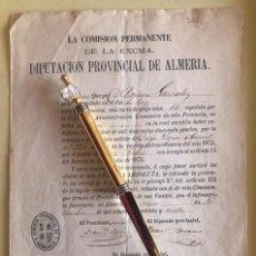 Documentos antiguos: ALMERIA- VELEZ RUBIO- DIPUTACION- REDENCION SERVICIO MILITAR- METALICO- AÑO 1.874. Lote 189405796