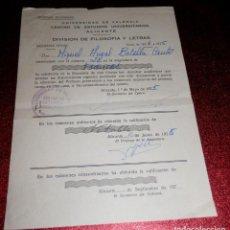 Documentos antiguos: INFORME DE NOTAS DE LA UNIVERSIDAD DE VALENCIA - 1975. Lote 189571590