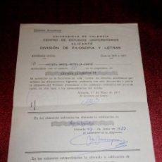 Documentos antiguos: INFORME DE NOTAS DE LA UNIVERSIDAD DE VALENCIA - 1977. Lote 189571717