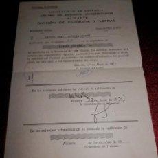 Documentos antiguos: INFORME DE NOTAS DE LA UNIVERSIDAD DE VALENCIA - 1977. Lote 189571906