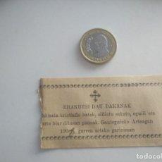 Documentos antiguos: EUSKERA VASCUENCE VIZCAÍNO. RECIBO O SIMILAR 1908. TAL COMO SE VE EN LA FOTO GAUTEGIZ ARTEAGA. Lote 189726653