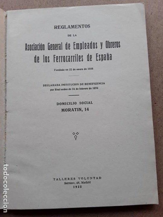 Documentos antiguos: Asociacion general de empleados y obreros de los ferrocarriles de españa reglamentos - Foto 3 - 189787545