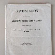 Documentos antiguos: 1853 EXTRAORDINARIO DOCUMENTO COMPAÑIA DEL FERROCARRIL DE LANGREO SESION DEL SENADO DEL 7 ABRIL 1853. Lote 189832792
