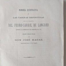 Documentos antiguos: 1877 MEMORIA FERROCARRIL DE LANGREO REDACTADA POR DON JOSE MAGAZ RARISIMO ESTADILLOS DESPLEGABLES. Lote 189833106