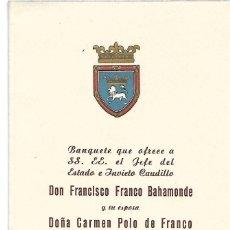Documenti antichi: BANQUETE AYUNTAMIENTO DE PAMPLONA A FRANCO. Lote 189947658
