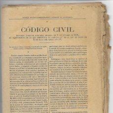 Documentos antigos: 6 OCTUBRE 1.888 - CÓDIGO CIVIL - 160 PAGINAS - APÈNDICE AL DICCIONARIO - VER FOTOS. Lote 190060146