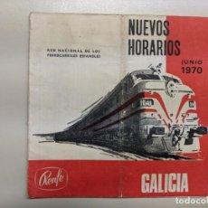 Documentos antiguos: 1970 RENFE FERROCARRILES GALICIA NUEVOS HORARIOS - RARO. Lote 190154245