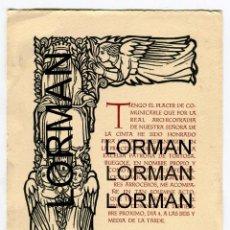 Documentos antiguos: TORTOSA REAL ARCHICOFRADIA NTRA.SRA. DE LA CINTA NOTIFICACION PARA LLEVAR EL ESTANDARTE AGOSTO 1955. Lote 190331446