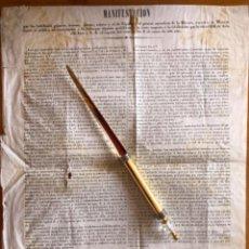 Documentos antiguos: BANDO- PROCLAMA- MILICIA NACIONAL- APOYO CONSTITUCION- ISABEL II - MADRID 1.843. Lote 190354137