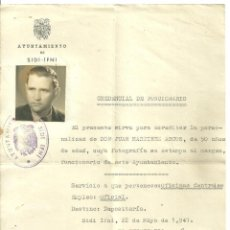 Documentos antiguos: C1. SIDI - IFNI - CREDENCIAL DE FUNCIONARIO DEL AYUNTAMIENTO DE SIDI-IFNI - SALVOCONDUCTO-PASAPORTE. Lote 190420757