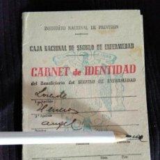 Documentos antiguos: CARNET SEGURO ENFERMEDAD INSTITUTO NACIONAL DE PREVISIÓN. Lote 190588036