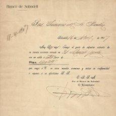 Documentos antiguos: BANCO DE SABADELL. 1907. CARTA A A. BADÍA. SABADELL.. Lote 190596275