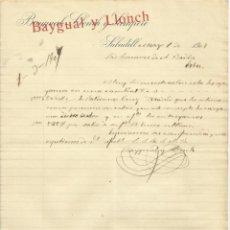Documentos antiguos: BAYGUAL, LLONCH Y SAMPERE. SABADELL. 1907. CARTA A A. BADÍA. SABADELL.. Lote 190596521