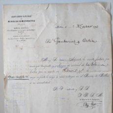 Documentos antiguos: 1893 RARISIMO DOCUMENTO MINAS DE SOMORROSTRO BILBAO VIZCAYA FERROCARRIL GANDARIA Y ORTIZ. Lote 190827568