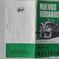 Documentos antiguos: 1967 NUEVOS HORARIOS DE LAS LINEAS EN GALICIA DE RENFE - FERROCARRILES - RARISIMO. Lote 190827976