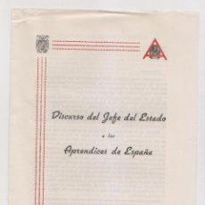 Documentos antiguos: RENFE. DISCURSO DEL JEFE DEL ESTADO A LOS APRENDICES DE ESPAÑA. FRANCISCO FRANCO. FERROCARRILES. Lote 190873822