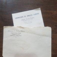 Documentos antiguos: ANÁLISIS LABORATORIO DE ANÁLISIS CLÍNICOS RAFAEL DURBÁN CÓRDOBA. ALMERÍA. Lote 190905895