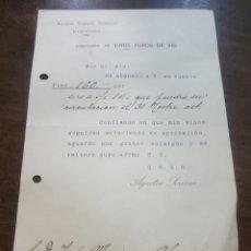 Documentos antiguos: CONFIRMACIÓN DE PAGO. AGUSTÍN SERRANO. MANZANARES. COSECHERO DE VINOS PUROS DE VID. Lote 190919812
