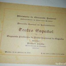 Documentos antiguos: CUADERNILLO PROGRAM AORQUESTA RADIO NACIONAL DIRECTOR RICHARD AUSTIN 1948. Lote 190978211