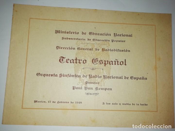 CUADERNILLO PROGRAMA ORQUESTA SINFONICA RADIO NACIONAL PAUL VAN KEMPEN 1948 (Coleccionismo - Documentos - Otros documentos)