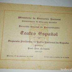Documentos antiguos: CUADERNILLO PROGRAMA ORQUESTA SINFONICA RADIO NACIONAL PAUL VAN KEMPEN 1948. Lote 190978515