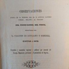Documentos antiguos: 1853 RRR FERROCARRILES COMPAÑIA DEL NORTE OBSERVACIONES JOAQUIN DE BOULIGNY Y FONSECA - SEGOVIA. Lote 190986133
