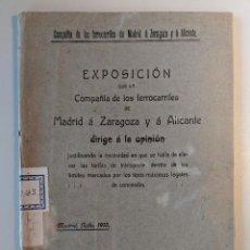 Documentos antiguos: 1918 FERROCARRILES COMPAÑIA MZA EXPOSICION MADRID ZARAGOZA ALICANTE - SUBIDA DE TARIFAS. Lote 190987121
