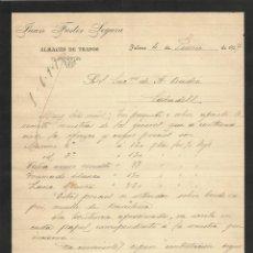 Documentos antiguos: JUAN FUSTER SEGURA. ALMACÉN DE TRAPOS. PALMA. 1907. CARTA A A. BADÍA. SABADELL.. Lote 191072181