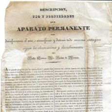 Documentos antiguos: DESCRIPCIÓN USO Y PROPIEDADES DEL APARATO PERMANENTE..GUITON DE MORVEAU. FARMACIA. REGUERA EN FERROL. Lote 191168963