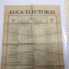 Documentos antiguos: AUCA ELECTORAL. [ SABADELL ENTRE 1893-1903]. IMP. COMERCIAL J. CANALS DOMENECH. 54X37 CM. . Lote 191218017