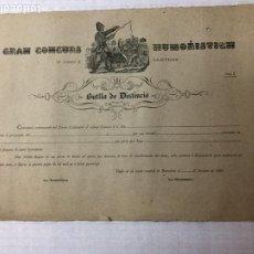 Documentos antiguos: GRAN CONCURS HUMORISTICH D' ARTS Y LLETRES. ANY 1. 1899. BUTLLA DE DISTINCIÓ. 37X58 CM.. Lote 191218207