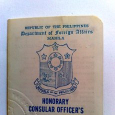 Documentos antiguos: CARNET IDENTIDAD VICECÓNSUL DEL GOBIERNO DE FILIPINAS EN BARCELONA,EXPEDIDO MANILA 1980 (DESCRIPCIÓN. Lote 191330995