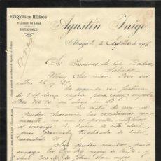 Documentos antiguos: AGUSTÍN YNIGO INIGO. ALIAGA. TERUEL. TEJIDOS DE LANA Y ESTAMBRE. 1907. CARTA A A. BADÍA. SABADELL.. Lote 191397020