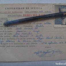 Documentos antiguos: UNIVERSIDAD DE SEVILLA - FACULTAD DE DERECHO: FICHA ALUMNO DERECHO ROMANO. CURSO 1959-60. Lote 191548790