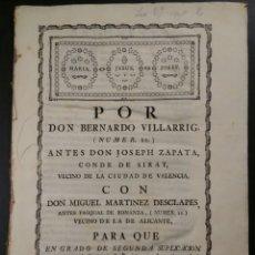 Documentos antiguos: MADRID 1775 SUPLICATORIO JUDICIAL DEL CONDE DE CIRAT DE VALENCIA. Lote 191559122