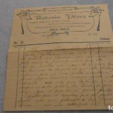 Documentos antiguos: ANTIGUA CARTA.TALLER DE PINTURA.ANTONIO PEREZ.MUNICIPIO LA CAMPANA.SEVILLA AÑOS 20. Lote 191653086