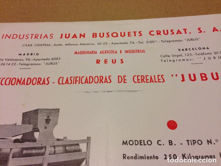 Documentos antiguos: INDUSTRIAS JUAN BUSQUETS CRUSAT,S.A.TELEGRAMAS JUBUS.REUS.BARCELONA,MADRID. - Foto 3 - 191684158