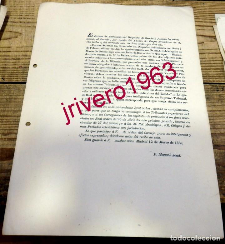 MADRID, 1834, ORDEN DE LA REINA DEBER DE INFORMAR LOS PARROCOS SOBRE ASUNTOS DE CONTRABANDO FELIGRES (Coleccionismo - Documentos - Otros documentos)